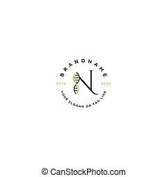 brief, vektor, logo, satz, n, dns, design