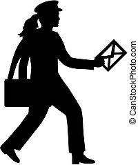 Brieffrau mit Brief.
