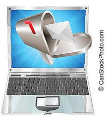Briefkasten fliegt aus dem Laptop-Screen-Konzept