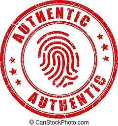 briefmarke, authentisch, produkt, vektor, einmalig