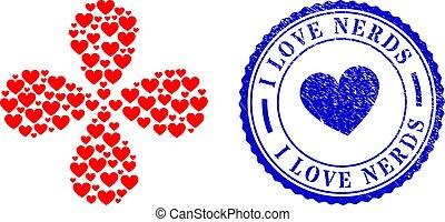briefmarke, liebe, siegel, bersten, gekratzt, zentrifugal, herz, streber