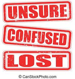 briefmarke, unsicher, verwirrt, verloren