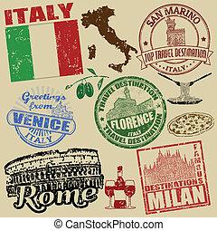Briefmarken mit Italien.