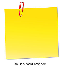 briefpapier, gelber , klammer, rotes