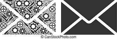 Briefumschlag Collage von Reparaturwerkzeugen