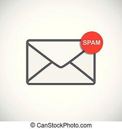 Briefumschlag Icon mit Spam-Nachricht.