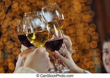 brille, hände, champagner, besitz, wein