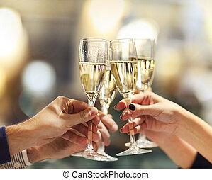 brille, toast, besitz, machen, leute, champagner