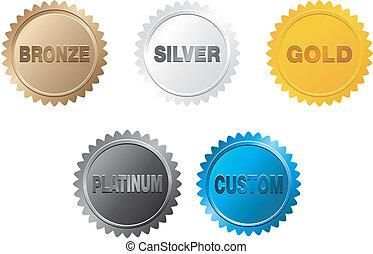 Bronze, Silber, Gold, Platinabzeichen.