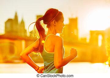 brooklyn, training, york, rennender , light., hintergrund., draußen, frau, asiatische frau, skyline, brücke, sonnig, fitness, modell, sunset., hell, neu , jogging, stadt, läufer