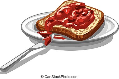 Brot mit Marmelade.