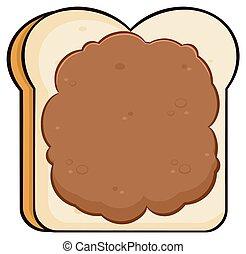 Brotscheibe mit Erdnussbutter.