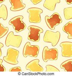 Brotscheibe Toast mit Marmelade - nahtloses Muster.
