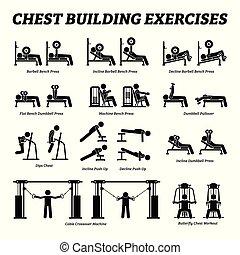 Brustbauübungen und Muskelaufbau-Stickfiguren Piktogramme.
