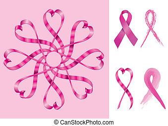 Brustkrebs unterstützt Bänder.