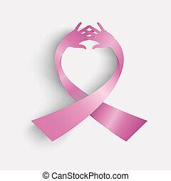 Brustkrebsbewusstseins-Schleife mit menschlicher Hand. EPS10 Vektordatei organisiert in Schichten für leichte Schnitte.