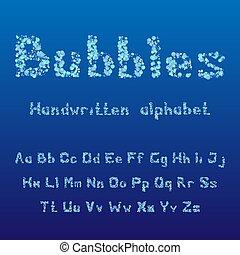 bubbles., alphabet., handgeschrieben