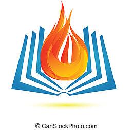 Buch über Feuerlogovektor