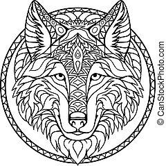 buch, gekritzel, zeichnung, wolf, grobdarstellung, färbung, vektor