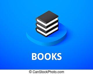 Buch isometrische Ikone, isoliert auf dem Farbhintergrund.