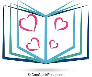 Buch mit stilisierten Herzen Logo.