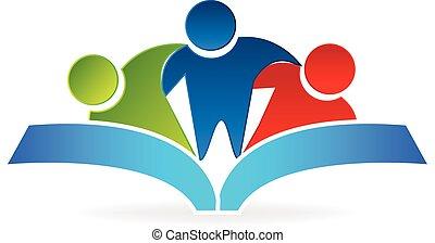 Buch Umarmung Leute Logo-Grafik Vektor.