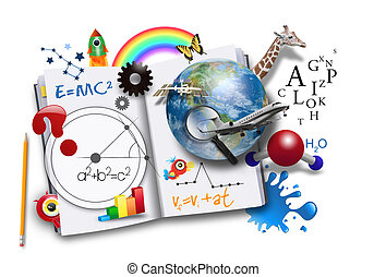 buch, wissenschaft, rgeöffnete, mathe, lernen