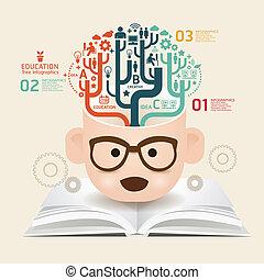 Buchdiagramm schöpferische Papierschnitt Vorlage / kann für infographische / horizontale Schnittlinien / Grafik- oder Website-Layout Vektor verwendet werden.