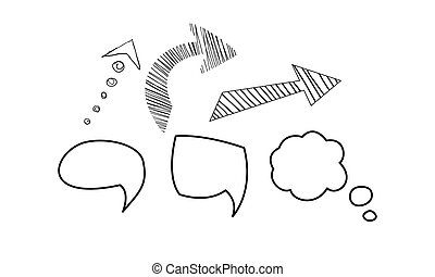 Buche Blase und Pfeile gesetzt, hand gezeichnete Elemente Vektor Illustration auf einem weißen Hintergrund.