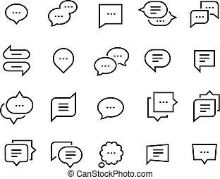 Buche-Blasen-Symbole. Sprechen Sie Gespräche dünne Dialog-Dialog-Symbole, Sprachnachrichten Comic-Wolke. Gesellschaftskommunikation eingestellt
