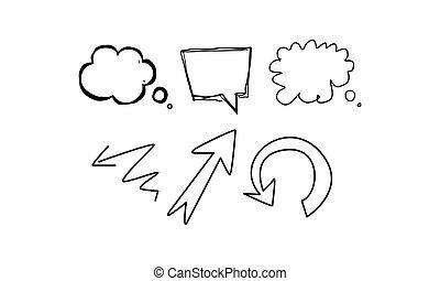 Buche Blasen und Pfeile verschiedener Formen Hand gezeichnet Vektor Illustration auf einem weißen Hintergrund.