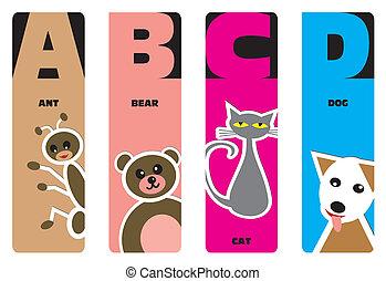 Buchmarken - Tierbuchstaben