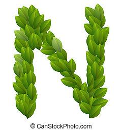 Buchstabe N des grünen Blätters
