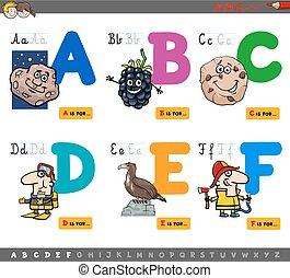 Buchstaben des Zeichentrickfilms.