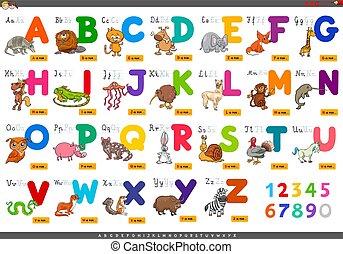 Buchstaben für den Lehrfilm.