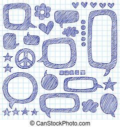Buchstabiere Bläschen zwielichtiges Doodle-Set