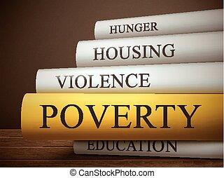 Buchtitel Armut isoliert auf einem Holztisch.