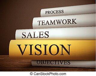 Buchtitel der Vision isoliert auf einem Holztisch.