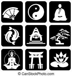 buddhismus, religiöses, zeichen & schilder