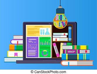 buecher, laptop, buchausleihe, elektronisch, stapel
