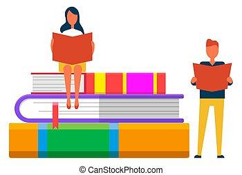 buecher, studenten, lehrbücher, online, lesende , buchausleihe