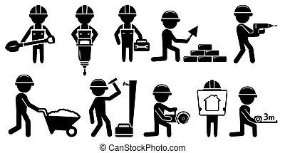 Builder mit Werkzeugen auf weißem Hintergrund.