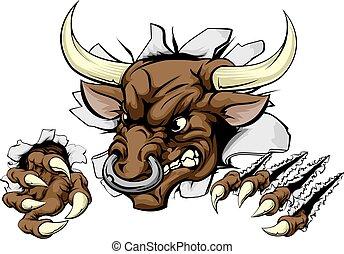 Bull Sports Maskottchen bricht die Wand.