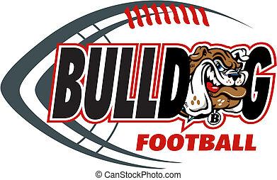 Bulldog Football mit Maskottchenkopf