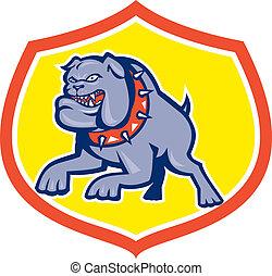 Bulldog Hund mongrel greift Retro an.