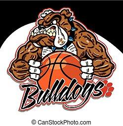 Bulldog-Maskottchen mit Basketball.