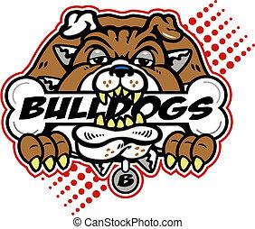 Bulldog mit einem riesigen Knochen