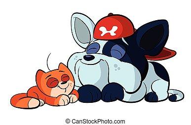Bulldog und süße rote Katze.