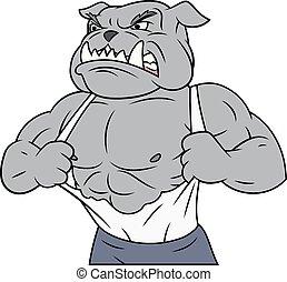 bulldogge, aggressiv, tearing, seine, mã¤nnerhemd