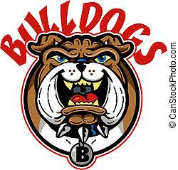 bulldogge, karikatur, maskottchen